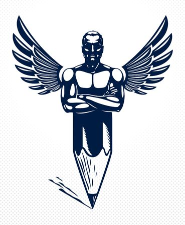 Strongman muscle man combined with pencil and wings into a symbol, strong design concept, creative power allegory, vector perfect classic style or icon. Ilustração