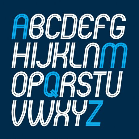 Set of vector upper case rounded delicate English alphabet letters made with white lines, can be used for creation in public relations business