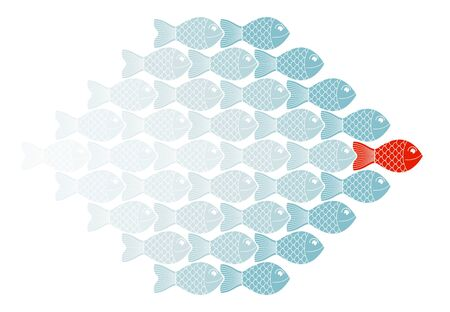 Business team leader vector concept shown with cartoon fishes and leading one is different color, teamwork or social leader.