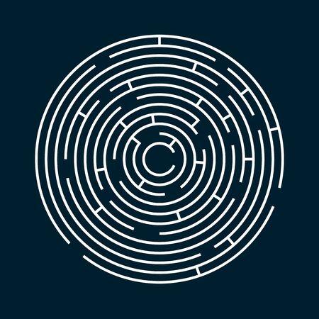Radiales Labyrinth-Labyrinth-Vektordesign, Kinderspiel zum Spielen, Ausweg finden. Vektorgrafik