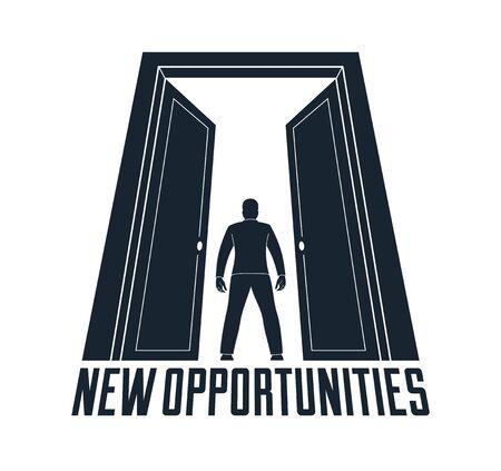 Man standing in half open big door hesitating to step in vector concept of new opportunities, step into future metaphor, debt decision to go to future. Ilustrace
