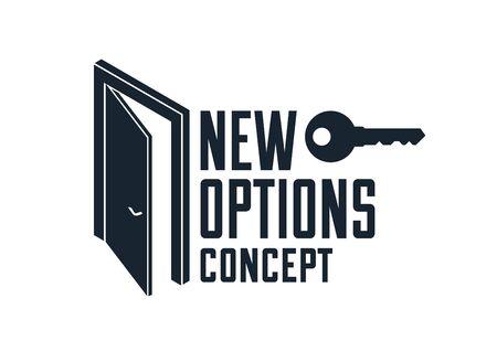 Half open door vector concept of new opportunities, step into future metaphor, start of new business or career, mysterious secret door allegory. Ilustrace