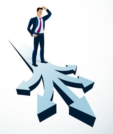 Doubting businessman choosing different directions which way to go vector illustration, business man have a dilemma because or different options or opportunities.