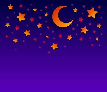 Beautiful night sky with crescent moon and stars vector modern style paper cut cartoon illustration.