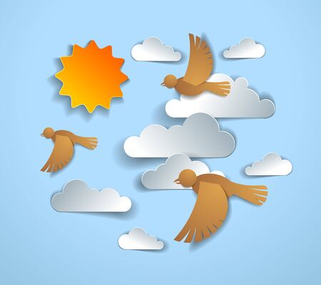 Birds flying in the sky among beautiful clouds and sun, summer cloudscape, vector illustration in paper cut kids style. Ilustrace