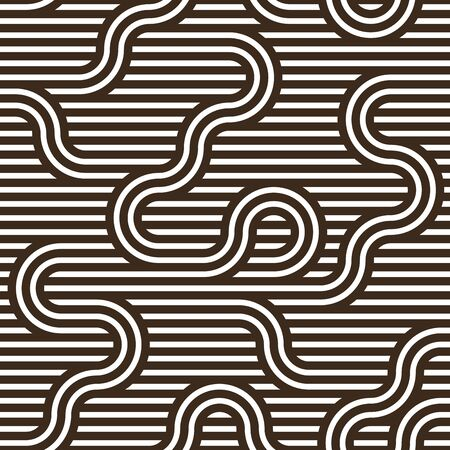 Lined seamless vector pattern with twisted lines, geometric abstract background, stripy net, optical maze, web network. Ilustração
