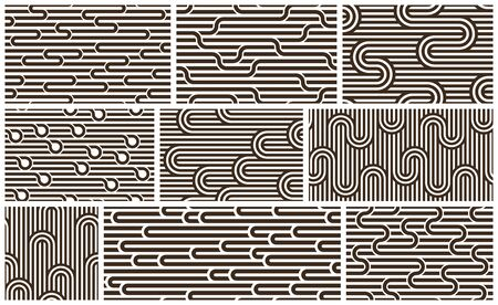 Lined seamless vector patterns with twisted lines, geometric abstract backgrounds set, stripy net, optical maze, web network. Ilustração