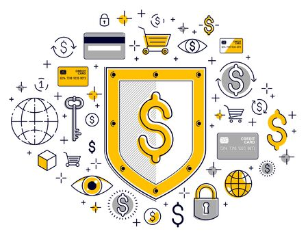 Shield and dollar set of icons, financial security concept, armor business defender, finance protection, vector flat thin line design, elements can be used separately.