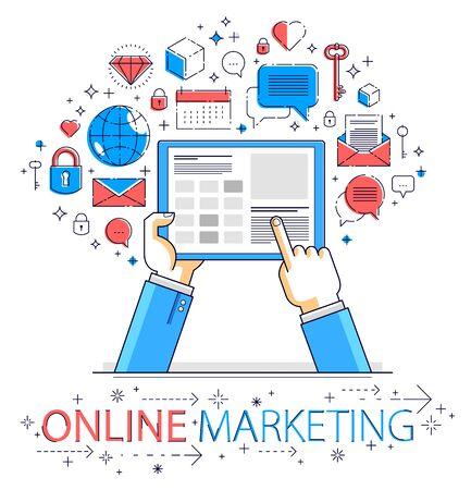 Internet communication and activity, man hands holding tablet and using apps, global network, modern communication, messenger or social media concept, vector design.