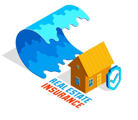 House near tsunami giant water wave real estate insurance concept vector isometric illustration isolated on white background, natural disaster protection.