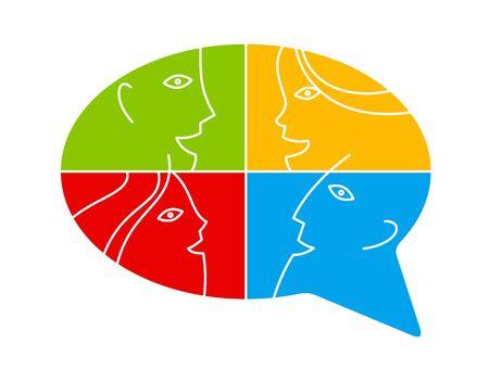 Konzeptionelles Sprechblasen-Kommunikationskonzept-Vektorzeichen einzeln auf Weiß, Dialog oder Brainstorming, Diskussion oder Argument.