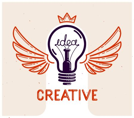 Idea light bulb with wings launching like a rocket vector linear logo or icon, creative idea startup, science invention or research lightbulb, new business start. Stok Fotoğraf - 138454088