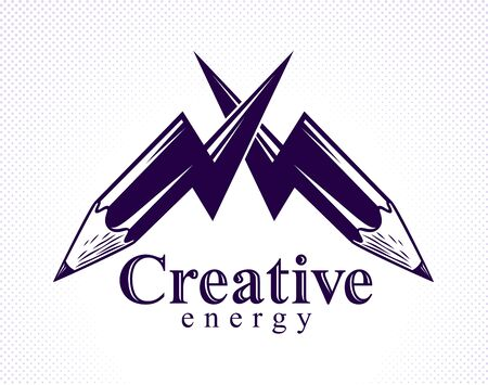 Creative energy power concept shown by two pencils in a shape of lightning bolts crossed, vector logo or icon, the power of idea, design and art, science invention or research.  イラスト・ベクター素材