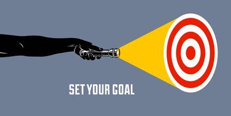 Hand mit trendiger Illustration des Taschenlampenvektorkonzepts, mit Ziel, das Ihr Ziel setzt und das Suchen und Entdecken hervorhebt.