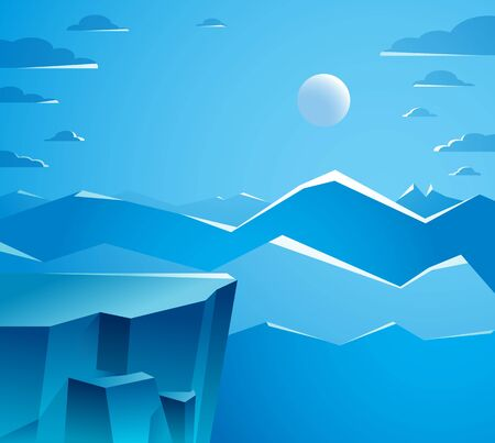 Beautiful mountain landscape with moon in the night, moon over peak scenic nature vector illustration, tranquil calm image for relaxing. 일러스트