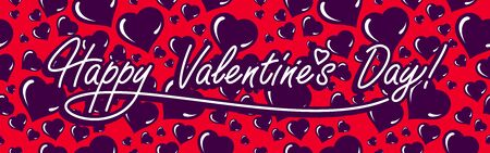 Love you greeting card on Valentine day vector banner design with hearts pattern in background, pattern is seamless. Illusztráció