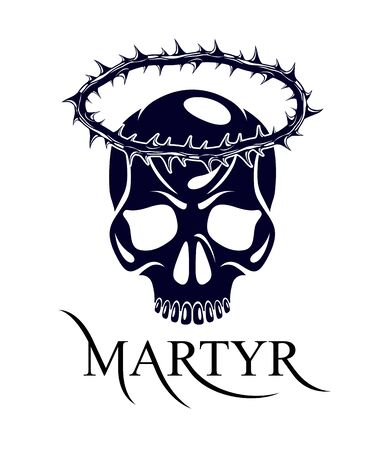 Martyr vector concept logo or sign, Christian religion and faith saint person, martyrdom blackthorn thorn wreath crown, Jesus Christ, suffering pain.
