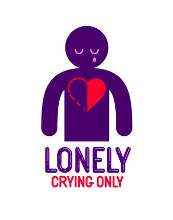 Man icon with half heart lonely and missing his mate lover girlfriend, divorce breakup and loneliness vector concept symbol, stylish illustration of broken relations. Illustration