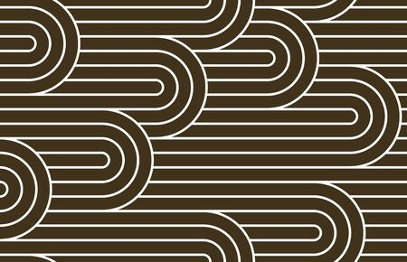 Seamless linear vector geometric minimalistic pattern, abstract lines tiling background, stripy weaving, optical maze, twisted stripes. Ilustração