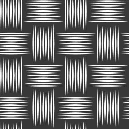 Tisser un motif sans couture, fond linéaire vectoriel avec texture tissée, papier peint à carreaux répétés tricotés en textile, design minimaliste simpliste parfait.