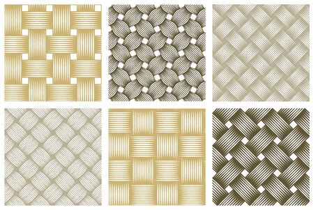 Seamless vector weaving patterns set, linear backgrounds with crossed lines, textile knitted repeat tiling wallpapers, perfect simplistic minimal designs. Ilustração