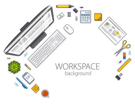 Work desk workspace top view with PC computer and a lot of different stationery objects on table with copy space for text. All elements are easy to use separately or recompose illustration. Vector.  イラスト・ベクター素材