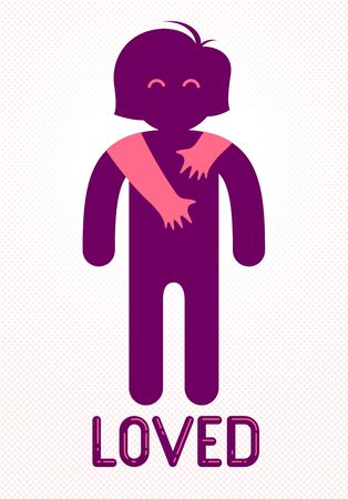 Beloved woman with care hands of a lover man hugging and caresses her shoulders, vector icon logo or illustration in simplistic symbolic style.