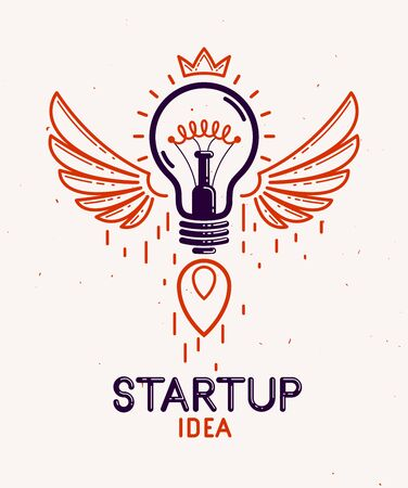 Idea light bulb with wings launching like a rocket vector linear logo or icon, creative idea startup, science invention or research lightbulb, new business start. Stok Fotoğraf - 138454052