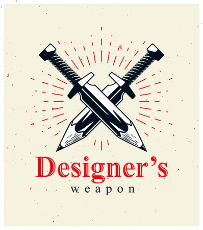 Idea is a weapon concept, weapon of a designer or artist allegory shown as two crossed swords with pencils instead of blades, creative power, vector logo or icon.