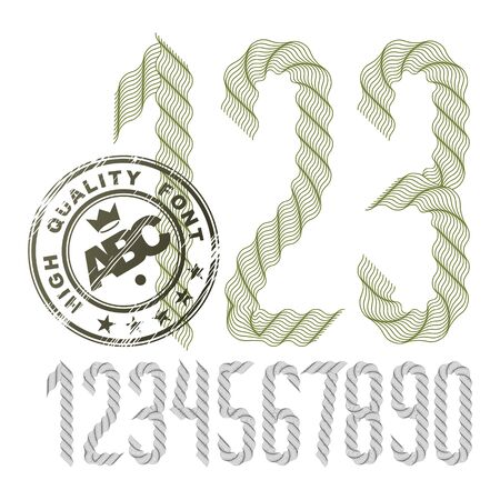 Set of vector tall numbers from 0 to 9, created with guilloche ornate, art ribbon. Can be used as award design elements. Çizim