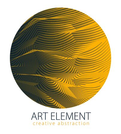 Design artistic element of great lines surface texture in a shape of circle. Vector abstract 3d perspective background for layouts, posters, banners, print and web. Trendy and cool. Çizim