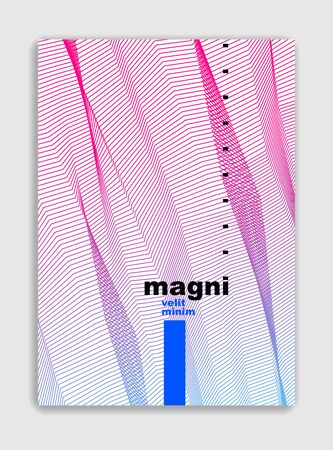 Abstract line art vector minimal contemporary brochure design, cover template, geometric halftone gradient. For Banners, Placards, Posters, Flyers. Beautiful and special, pattern texture. Çizim