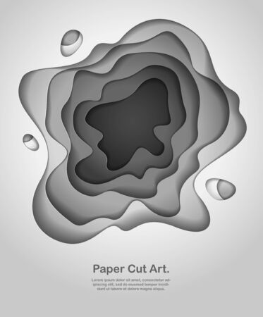 3D abstract grey background with paper cut shapes. Vector illustration in paper cut style. layout for business card, presentations, flyers or posters.
