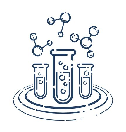 Test tube and molecule connection vector simple linear icon, science chemistry and medicine analysis line art symbol, laboratory research.