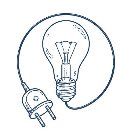 Light bulb idea with electric plug vector simple linear icon, lightbulb science and business line art symbol, creative solutions. Ilustrace