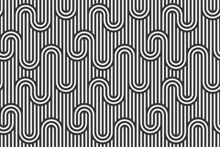 Stripy vector seamless pattern with woven lines, geometric abstract background, stripy net, optical maze, web network. Black and white design.