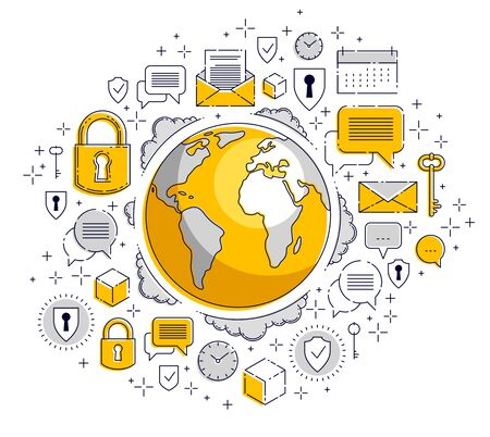 Global internet connection concept, planet earth with different icons set, big data, internet activity, global communication, vector, elements can be used separately.