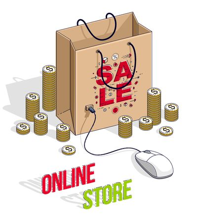 Online Shopping concept, web store, internet sales, Shop bag with pc mouse and cash money stacks isolated on white. Vector 3d isometric business and finance illustration, thin line design. Illustration