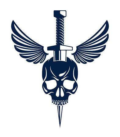 Schädel getötet von einem Dolchmesser mit Flügeln Vintage-Vektor-Emblem oder Logo einzeln auf Weiß, Wappen im Vintage-Stil, Bandenzeichen-Kriminalität, klassische Tätowierung.