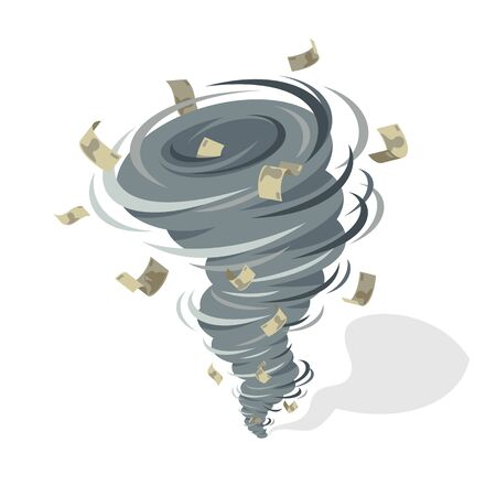 Financial crisis tornado whirlwind takes money banknotes, strong wind swirl taking money vector concept illustration.