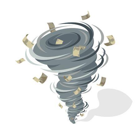 Finanzkrise Tornado Wirbelwind nimmt Geldbanknoten, starker Windwirbel, der Geldvektorkonzeptillustration nimmt. Vektorgrafik