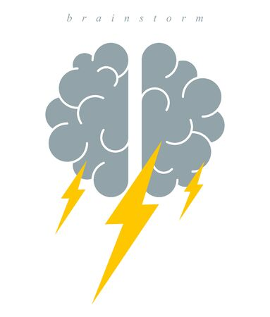 Brainstorm concept vector logo or icon, human brain and lightning bolt simple symbol, flat modern style.