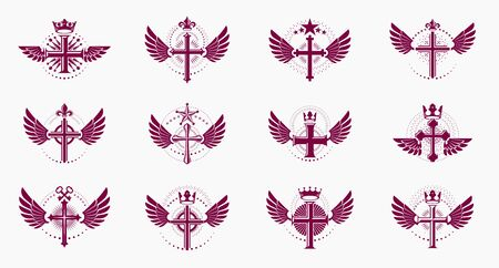 Religion crosses logos big vector set, vintage heraldic Christian emblems collection, classic style heraldry design elements, ancient designs, belief.