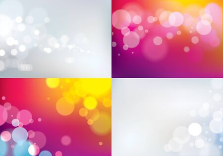 Bokeh abstract blurry lights backgrounds set. Colorful vector illustrations for your design. Holidays magic festive shiny theme collection.