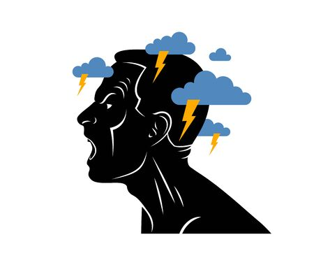 Anger, aggression and psychosis mental health and high anxiety vector conceptual illustration or logo visualized by man face profile and dark clouds over his head. Logo