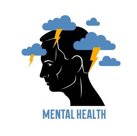 Depresión de salud mental y alta ansiedad vector ilustración conceptual o logotipo visualizado por el perfil de la cara del hombre y nubes oscuras sobre su cabeza. Logos