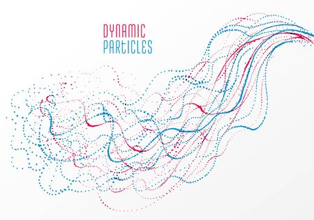 Dots particles flowing array vector abstract background, biology science theme design, dynamic elements in motion.