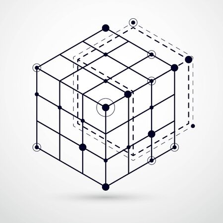 Vector of modern abstract cubic lattice lines black and white background. Layout of cubes, hexagons, squares, rectangles and different abstract elements. Abstract technical 3D background. Vector Illustratie