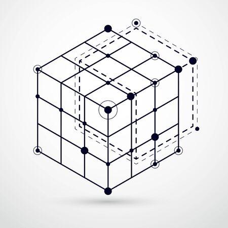Vektor des Schwarzweiss-Hintergrunds der modernen abstrakten kubischen Gitterlinien. Layout von Würfeln, Sechsecken, Quadraten, Rechtecken und verschiedenen abstrakten Elementen. Abstrakter technischer 3D-Hintergrund. Vektorgrafik