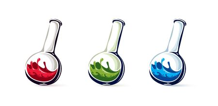 Chemical glass flask with reaction vector illustration isolated on white, chemistry science object. 向量圖像